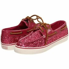 Sperry Womens 9 Bahama Pink Glitter Boat Shoes Top Sider Loafer Metallic Sparkle