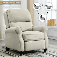 Fabric Push Back Recliner Chair Living Room Sofa Overstuffed Back Roll Arm Chair