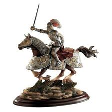 """Medieval Charging Knight And Horse Design Toscano 10"""" Hand Painted Sculpture"""