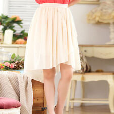 Patternless Knee Length Plus Size Tiered Skirts for Women