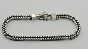"Large 8.5"" James Avery Sterling Silver Square Foxtail  Men's Or Women's Bracelet"