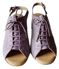 TOD'S Women's Shoes Lilac Leather Pumps High Heels Lace Up Shoe Size 40 ½ NEW