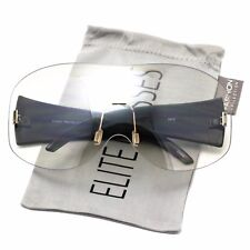4112b7e9742 Womens Exaggerated Vintage SHIELD VISOR Style SUN GLASSES Clear Tinted Lens  NEW