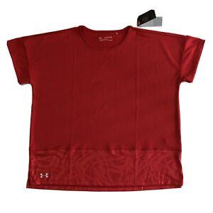 Under Armour Women's  S/S Red T-Shirt Top # 1351228 NWT Sz 2XL