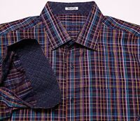BUGATCHI UOMO Long Sleeve Flip Cuff Shirt Purple Black Blue Plaid XL Shaped Fit