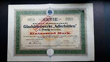 """Aktie AG Glashüttenwerke """"Adlerhütten"""" 1000 Mk 1920 Penzig bei Görlitz"""