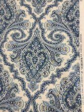 Anatalya Waverly shades of blue on white paisley demask print fabric by the yard