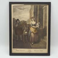 Vintage Colored Etching Of Painting by Francis Wheatley Cries of London Turnips