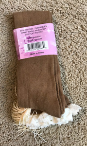 Croche lace boot socks, high knee, brown, size 6-11