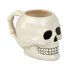 White Skull Shaped Molded Ceramic Mug 10cm Scary Novelty Present Gift Christmas