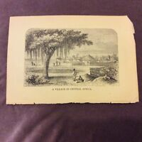 Antique Book Print - A Village in Central Africa - c.1840/50