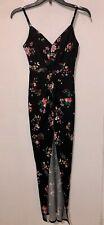 Women Dress Material Girl Black Floral Maxi V-Neck Slit Regular Size XS NWOT