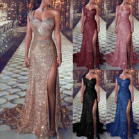 Women Sequin Glitter Long Dress Sparkly Bodycon High Slit Evening Party Dresses