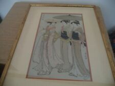 Torii Kiyonaga ORIGINAL Japanese Woodblock Print walking lady with companions
