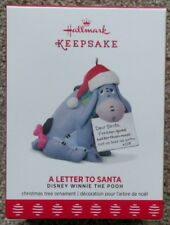 2017 Hallmark Ornament A LETTER TO SANTA Disney EEYORE Winnie Pooh Free Shipping