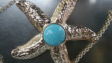 Choker necklace gold starfish hammered with turquoise cabochon stone. VINTAGE