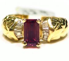 Vintage 2.21CT 14K Solid Gold Natural Red Spinel Diamond Engagement Ring Jewelry