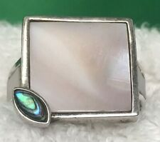 Mother Of Pearl Square Inlaid Ring