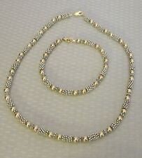 925 STERLING & GOLDFILLED SET granulated silver yellow gf bead necklace bracelet