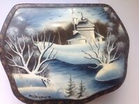 1960s vintage Russian lacquer box hand painted & signed Fedoskino
