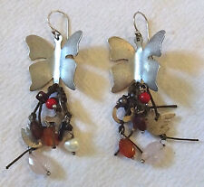 SALE Vintage Sterling Silver BOHO Hippie Pierced Dangle EARRINGS Butterfly Dove