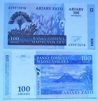 MADAGASCAR 500 francs=100 ariary 2004, P-86a. Plancha UNC,
