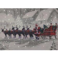 Navidad Santa & Trineo Nieve Luz Fibra Óptica LED De Lona/imagen 40 X 30cm