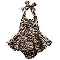 Baby Girls Sleeveless Backless Leopard Print Romper Playsuit Jumpsuit Outfits