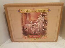 Grandeur Noel 3 Piece Porcelain Figurine Set/ Santa Reindeer Polar Bear '99 MIB