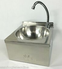 COMPACT Stainless Steel Knee Operated HAND WASH BASIN Sink TAP, Waste hands free
