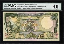 INDONESIA 2500 2,500 RUPIAH 1957 PMG 40 EXTREMELY FINE P.54
