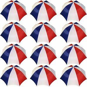Umbrella Hat Cap Hands Free W/ Head Strap for Sun Rain 12 Pack Red/White/Blue
