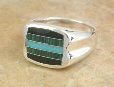 STERLING SILVER TURQUOISE MALACHITE ONYX RING size 11  style# r1252