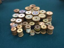 Vintage Wood Spools Lot of 32 Thread Coats & Clark, Heathside, Corticelli, etc