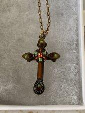Firefly Swarovski Crystal Cross Pendant Necklace