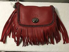 NWT Coach Whiplash Leather Dakotah Small Fringe Crossbody Red Currant F33939