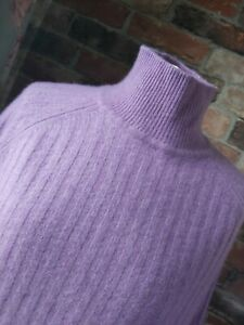 MARKS & SPENCERS AUTOGRAPH 100% CASHMERE LILAC PURPLE RIBBED JUMPER SIZE M 12 14