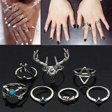 7pcs Women European Turquoise Tibetan Silver Dear Horn Finger Stacking Rings UK