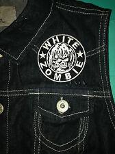 White Zombie Girls Black Denim CutOff Waistcoat Vest Jacket Thunder Kiss Dragula