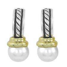 David Yurman 14k Gold & Sterling Silver Drop Dangling 8mm Pearl Earrings