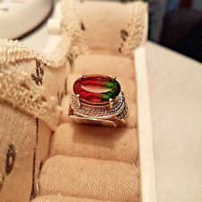 Watermelon Quartz, Peridot & Orissa Garnet Ring in Platinum Over S/Silver N