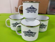 Coleman Enamel Coffee Mugs White Camping Cups The Sunshine of the Night Set 4
