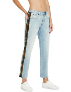 Sass & Bide STAR GAZER JEANS Mid Rise Embellished Boyfriend NEW Blue Free Post
