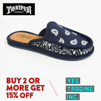 TROOPER AMERICA MENS CASUAL HOUSE SHOES PAISLEY BANDANA SLIPPERS SANDALS SLIDES