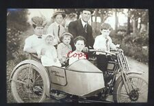 REAL PHOTO HARLEY DAVIDSON MOTORCYCLE SIDE CAR 7 PEOPLE POSTCARD COPY