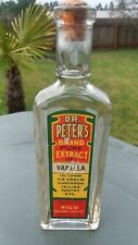 Vintage Dr. Peters Brand Pure Extract of Vanilla Glass Bottle Rigo with Cork