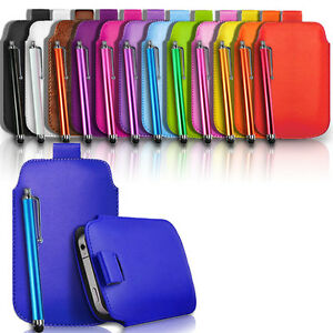 QUALITY LEATHER PULL TAB CASE COVER POUCH & FREE PEN FOR VARIOUS MOBILE PHONES