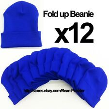 **ROYAL BLUE** WHOLESALE LOT OF 12 PLAIN BLANK SOLID LONG FOLD UP BEANIE HATS