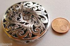 10 perles grandes fleurs métal argenté 6mm DIY bijoux déco MA184