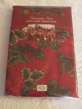 "2006 Poinsettia Pine Red Tablecloth 60"" x 84"" Oblong New Table Linen"